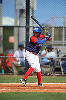 Franyelis Gomez (5) during the Dominican Prospect League Elite Florida Event at Pompano Beach Baseball Park on October 14, 2019 in Pompano beach, Florida.  (Mike Janes/Four Seam Images)