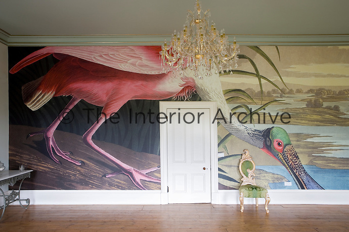 Large drawing room with bespoke bird print wallpaper