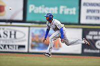 Hartford Yard Goats first baseman Correlle Prime (27) runs to second during a game against the Richmond Flying Squirrels at The Diamond on April 30, 2016 in Richmond, Virginia. The Yard Goats defeated the Flying Squirrels 5-1. (Tony Farlow/Four Seam Images)