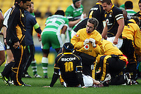 Werllington's injured halfback Piri Weepu (left) comes on to check on Dan Kirkpatrick. Air NZ Cup - Wellington Lions v Manawatu Turbos at Westpac Stadium, Wellington, New Zealand. Saturday 3 October 2009. Photo: Dave Lintott / lintottphoto.co.nz