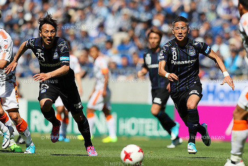 (L-R) <br /> Jungo Fujimoto, <br /> Yosuke Ideguchi (Gamba), <br /> MAY 5, 2017 - Football / Soccer : <br /> 2017 J1 League match between <br /> Gamba Osaka 1-1 Shimizu S-Pulse <br /> at Suita City Football Stadium, Osaka, Japan. <br /> (Photo by AFLO SPORT)