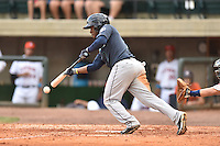 Pulaski Mariners center fielder Arby Fields #1 squares and bunts during a game against the Greenville Astros at Pioneer Park July 12, 2014 in Greenville, Tennessee. The Mariners defeated the Astros 11-10. (Tony Farlow/Four Seam Images)