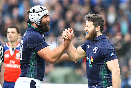 27.02.2016. Stadio Olimpico, Rome, Italy. RBS Six Nations Championships. Italy versus Scotland. SEYMOUR TOMMY celebrates his try