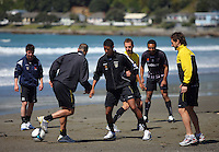 James Musa (centre) trains with Wellington Phoenix at Lyall Bay on Friday..A-League Football - Wellington Phoenix Training Session at Lyall Bay, Wellington. Thursday, 29 October 2009. Photo: Dave Lintott
