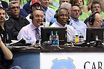 03 December 2014: ESPN broadcasters Dick Vitale (left) and John Saunders (right). The University of North Carolina Tar Heels played the University of Iowa Hawkeyes in an NCAA Division I Men's basketball game at the Dean E. Smith Center in Chapel Hill, North Carolina. Iowa won the game 60-55.