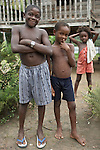 The Marowijne River, Suriname.  Maroon children in the village of Nason.