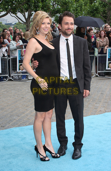 Mary Elizabeth Ellis & Charlie Day.Horrible Bosses UK Premiere, BFI, London, England..20th July 2011.full length black dress white shirt beard facial hair side pregnant suit married husband wife lace .CAP/WIZ.© Wizard/Capital Pictures.