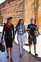 Young students strolling in Leon, Castilla y Leon, Spain