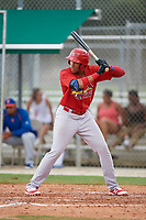 GCL Cardinals first baseman Dariel Gomez (34) at bat during a game against the GCL Mets on July 23, 2017 at Roger Dean Stadium Complex in Jupiter, Florida.  GCL Cardinals defeated the GCL Mets 5-3.  (Mike Janes/Four Seam Images)