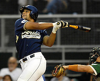 The Florida International University Golden Panthers (16-15, 3-6 Sun Belt) versus the University of Miami (17-13, 5-7 ACC) at Mark Light Field, Coral Gables, Florida on Wednesday, April 4, 2007...Senior catcher Luis Bautista (34)