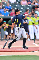 Seby Zavala of the Kannapolis Intimidators swings at a pitch during the home run derby as part of the All Star Game festivities at Spirit Communications Park on June 19, 2017 in Columbia, South Carolina. The Soldiers defeated the Celebrities 1-0. (Tony Farlow/Four Seam Images)