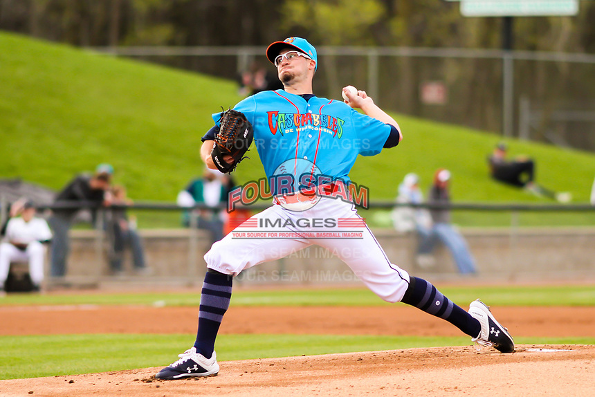 Wisconsin Timber Rattlers pitcher Aaron Ashby (26) delivers a pitch during a Midwest League game against the Lake County Captains on May 10, 2019 at Fox Cities Stadium in Appleton, Wisconsin. Wisconsin defeated Lake County 5-4. (Brad Krause/Four Seam Images)