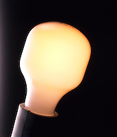 LIGHT BULB<br /> Frosted bulb<br /> Most light bulbs of 60w or more are filled with an argon nitrogen gas mix. A gas fill slows down evaporation of the filament because gas atoms can &quot;bounce&quot; atoms of evaporated tungsten back onto the filament which can operate at higher temperatures.