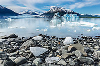 Summer landscape of shoreline and ice berg and Colony Glacier at Inner Lake George. Summer. Southcentral, Alaska.  Chugach Mountains. <br /> <br /> (C) Jeff Schultz/SchultzPhoto.com
