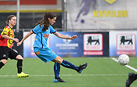 20191005  -  Diksmuide , BELGIUM : FWDM's Angelique Veracx pictured during a footballgame between the womensoccer teams from Famkes Westhoek Diksmuide Merkem and KV Mechelen Ladies A , on the 5th matchday in the first division , 1e nationale , in Diksmuide - Belgium - saturday 5th october 2019 . PHOTO DAVID CATRY   Sportpix.be
