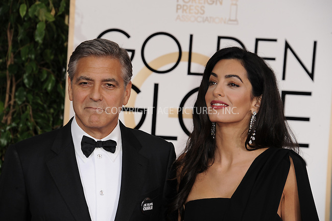 WWW.ACEPIXS.COM<br /> <br /> January 11 2015, LA<br /> <br /> Actor George Clooney (L) and attorney Amal Alamuddin Clooney arriving at the 72nd Annual Golden Globe Awards at The Beverly Hilton Hotel on January 11, 2015 in Beverly Hills, California.<br /> <br /> <br /> By Line: Peter West/ACE Pictures<br /> <br /> <br /> ACE Pictures, Inc.<br /> tel: 646 769 0430<br /> Email: info@acepixs.com<br /> www.acepixs.com