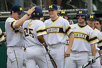 Michigan Wolverines bench greets outfielder Johnny Slater (25) after scoring during the NCAA baseball game against the Washington Huskies on February 16, 2014 at Bobcat Ballpark in San Marcos, Texas. The game went eight innings, before travel curfew ended the contest in a 7-7 tie. (Andrew Woolley/Four Seam Images)