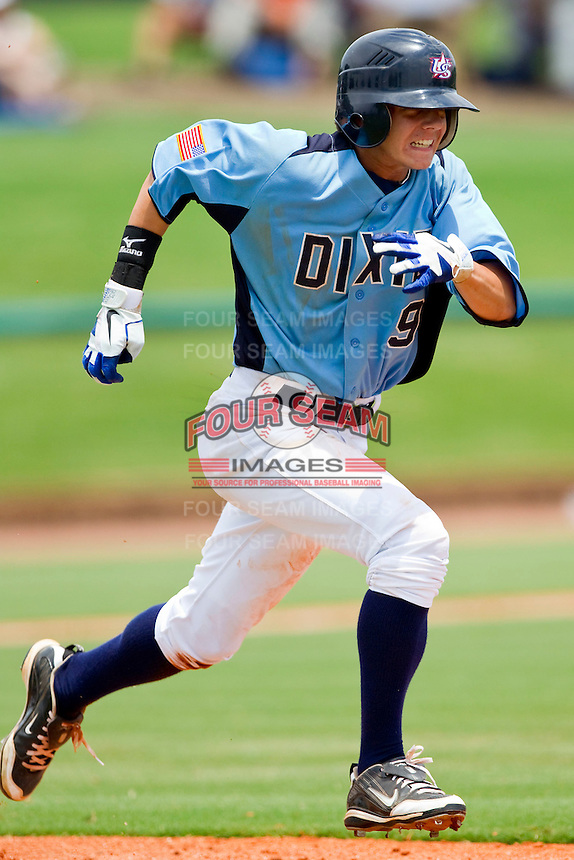Cole Billingsley #9 of Dixie hustles down the first base line against AABC at the 2011 Tournament of Stars at the USA Baseball National Training Center on June 25, 2011 in Cary, North Carolina.  The AABC defeated Dixie 4-2.  (Brian Westerholt/Four Seam Images)