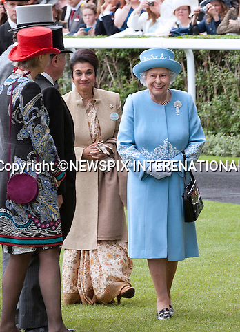 THE QUEEN WITH HER GUESTS PRINCESS SARVATH EL HASSAN AND PRINCE HASSAN bin TALAL OF JORDAN <br /> attend the last day of the Royal Meeting at Ascot,Ascot Racecourse, Ascot_22/06/2013<br /> Mandatory Credit Photo: &copy;Robert Piper/NEWSPIX INTERNATIONAL<br /> <br /> **ALL FEES PAYABLE TO: &quot;NEWSPIX INTERNATIONAL&quot;**<br /> <br /> IMMEDIATE CONFIRMATION OF USAGE REQUIRED:<br /> Newspix International, 31 Chinnery Hill, Bishop's Stortford, ENGLAND CM23 3PS<br /> Tel:+441279 324672  ; Fax: +441279656877<br /> Mobile:  07775681153<br /> e-mail: info@newspixinternational.co.uk