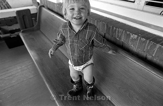 Nathaniel Nelson with his Toy Story underwear and his boots.<br />