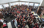 SIOUX FALLS, SD: MARCH 24:  Northern State fans fill the lobby prior to their game against Ferris State at the 2018 Division II Men's Basketball Championship at the Sanford Pentagon in Sioux Falls, S.D. (Photo by Dick Carlson/Inertia)