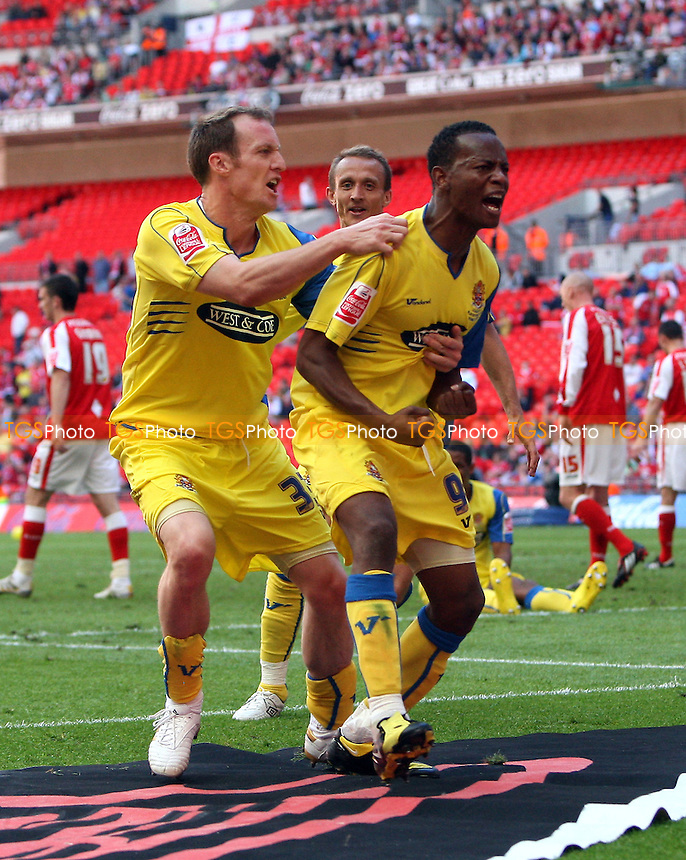 Jon Nurse of Dagenham celebrates scoring the third and winning goal for his team - Dagenham & Redbridge vs Rotherham United - Coca Cola League Two Play-Off Final at Wembley Stadium -  30/05/10 - MANDATORY CREDIT: Gavin Ellis/TGSPHOTO - Self billing applies where appropriate - Tel: 0845 094 6026