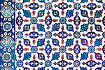 Iznik 14 - Stylized flower motifs on Iznik tiles in Rustem Pasa Mosque, Eminonu, Istanbul, Turkey