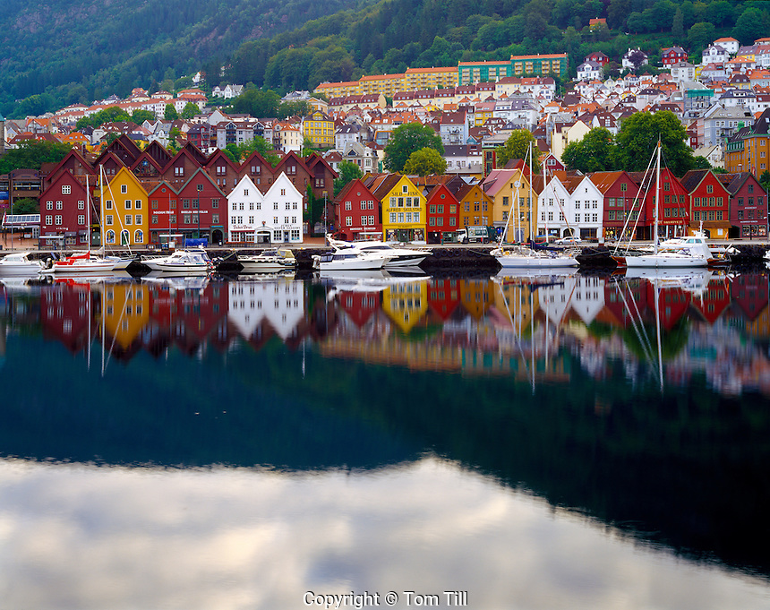 Bergen waterfront, Western Fjords, Norway, coastal city established 1070, Bergen town center reflected in bay   UNESCO World Heritage Site