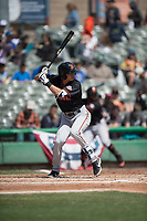 San Jose Giants second baseman Orlando Garcia (6) during a California League game against the Stockton Ports on April 9, 2019 in Stockton, California. San Jose defeated Stockton 4-3. (Zachary Lucy/Four Seam Images)