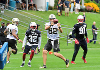 Wednesday, July 27, 2016: New Orleans Saints tight end Coby Fleener (82) makes a catch at a joint training camp practice between New England Patriots and  the New Orleans Saints  training camp held Gillette Stadium in Foxborough Massachusetts. Eric Canha/CSM