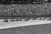 #28 Ford Thunderbird driven by Davey Allison and Bobby Hillin, leads a pack of cars during the DieHard 500, NASCAR Winston Cup race, Talladega Superspeedway, July 26, 1992.  (Photo by Brian Cleary/bcpix.com)