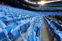 Flags left on seats await the fans ahead of kick-off at The Etihad stadium<br /> <br /> Photographer Rich Linley/CameraSport<br /> <br /> UEFA Champions League - Quarter-finals 2nd Leg - Manchester City v Tottenham Hotspur - Wednesday April 17th 2019 - The Etihad - Manchester<br />  <br /> World Copyright © 2018 CameraSport. All rights reserved. 43 Linden Ave. Countesthorpe. Leicester. England. LE8 5PG - Tel: +44 (0) 116 277 4147 - admin@camerasport.com - www.camerasport.com