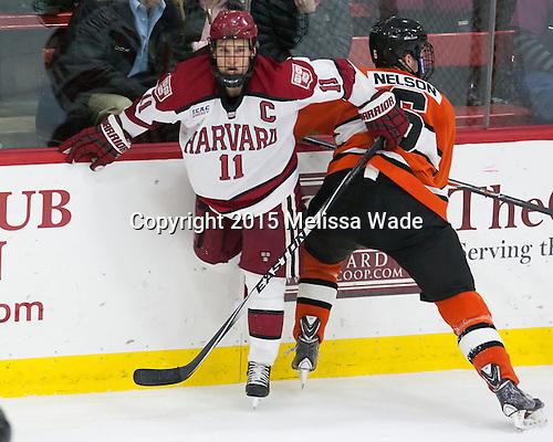 Kyle Criscuolo (Harvard - 11), Matt Nelson (Princeton - 6) - The Harvard University Crimson defeated the visiting Princeton University Tigers 5-0 on Harvard's senior night on Saturday, February 28, 2015, at Bright-Landry Hockey Center in Boston, Massachusetts.