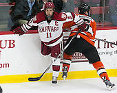 Kyle Criscuolo (Harvard - 11), Matt Nelson (Princeton - 6) - The Harvard University Crimson defeated the visiting Princeton University Tigers 5-0 on Harvard's senior night on Saturday, February 28, 2015, at Bright-Landry Hockey Center in Boston, Massachusetts.