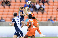 Houston, TX - Saturday July 15, 2017: Shelina Zadorsky and Rachel Daly during a regular season National Women's Soccer League (NWSL) match between the Houston Dash and the Washington Spirit at BBVA Compass Stadium.
