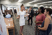 "Juliette Beighle '17 presents her work on ""Selection of Complex Foods in High and Low Saccharine-Consuming Rats""<br /> Occidental College's Undergraduate Research Center hosts their annual Summer Research Conference on Aug. 4, 2016. Student researchers presented their work as either oral or poster presentations at the final conference. The program lasts 10 weeks and involves independent research in all departments.<br /> (Photo by Marc Campos, Occidental College Photographer)"