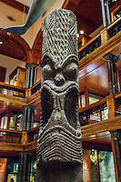 A wood carving of the Hawaiian deity Kane on display at the Bishop Museum, Honolulu, O'ahu.