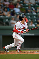 Right fielder Jarren Duran (35) of the Greenville Drive follows through on a swing during a game against the Lexington Legends on Sunday, September 2, 2018, at Fluor Field at the West End in Greenville, South Carolina. Greenville won, 7-4. (Tom Priddy/Four Seam Images)