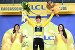 Race leader Geraint Thomas (WAL) Team Sky retains the Yellow Jersey at the end of Stage 15 of the 2018 Tour de France running 181.5km from Millau to Carcassonne, France. 22nd July 2018. <br /> Picture: ASO/Alex Broadway | Cyclefile<br /> All photos usage must carry mandatory copyright credit (&copy; Cyclefile | ASO/Alex Broadway)