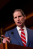 United States Senator Ron Wyden (Democrat of Oregon) discusses saving pre-existing condition protections in the health care system during a press conference on Capitol Hill in Washington D.C., U.S. on July 31, 2019.<br /> <br /> Credit: Stefani Reynolds / CNP