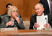 United States Senator Lamar Alexander (Republican of Tennessee), right, Chairman, US Senate Committee on Health, Education, Labor and Pensions, right and US Senator Patty Murray (Democrat of Washington), left, have a discussion prior to the hearing considering the confirmation of Betsy DeVos of Grand Rapids, Michigan to be US Secretary of Education on Capitol Hill in Washington, DC on Tuesday, January 17, 2017. Photo Credit: Ron Sachs/CNP/AdMedia