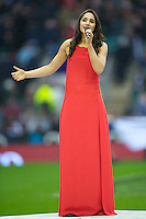 Laura Wright, recently named as England Rugby's first official anthem singer, sings before the QBE Autumn International match between England and South Africa at Twickenham on Saturday 24 November 2012 (Photo by Rob Munro)