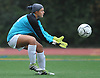 Giuliana Graziosi, North Shore goalie, gains control of a kicked ball during a Nassau County varsity girls soccer match against Garden City at North Shore High School on Monday, Sept. 18, 2017. North Shore won by a score of 2-1.