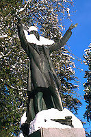 "Snow Covered ""Lord Stanley"" Statue in Stanley Park, Vancouver, BC, British Columbia, Canada, Winter"