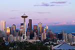 The Seattle skyline as sundown approaches