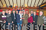 Ballydonoghue GAA Chairman, Francis Kennelly making a presentation to Gus Cremin, Liselton to mark  his 90th birthday at the Thatch Pub, Liselton on Friday night last. L-R: Tim O'Connor, Michael Flavin, Brendan Buckley, Maurice O'Mahony, John Cremin, Francis Kennelly, Eugene O'Sullivan, Gus Cremin, Brenda .Cremin, Celia Cremin, GerMoran, Michael Finucane & Jim Finnerty. Back: Donal Enright, Michael O'Mahony & Dermot Lynch.