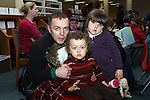 Únaín, Eoin and John Duggan at Storytime in Drogheda Library as part of World Book Day....Photo NEWSFILE/Jenny Matthews.