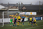 The visitors defending during the first-half at Station Park, Forfar during the SPFL League 2 fixture between Forfar Athletic and Edinburgh City (yellow). It was the club's sixth and final meeting of City's inaugural season since promotion from the Lowland League the previous season. City came from behind to win this match 2-1, watched by a crowd of 446.