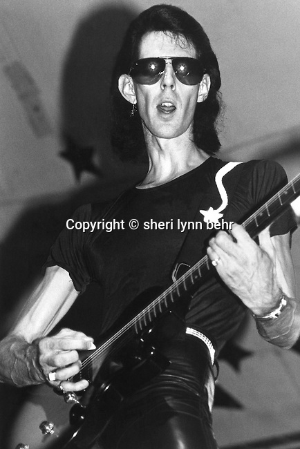Ric Ocasek of the Cars onstage in Central Park, New York City, 1979
