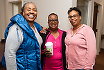 WATERBURY,  CT-041919JS12-Gloria Clarke, Diane Clark and Linda chapman, at the annual Good Friday fish fry held at Grace Baptist Church in Waterbury. <br />  Jim Shannon Republican American